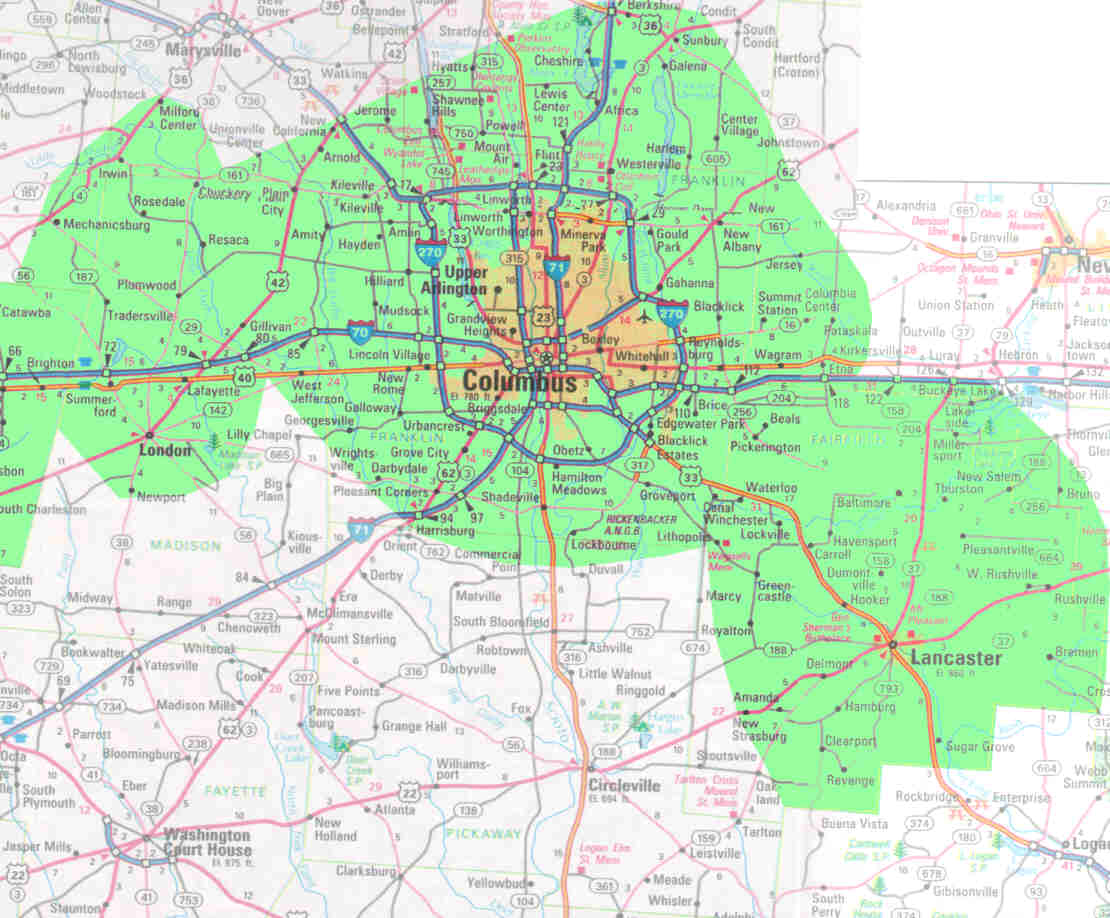 map of columbus ohio and surrounding areas – bnhspine.com